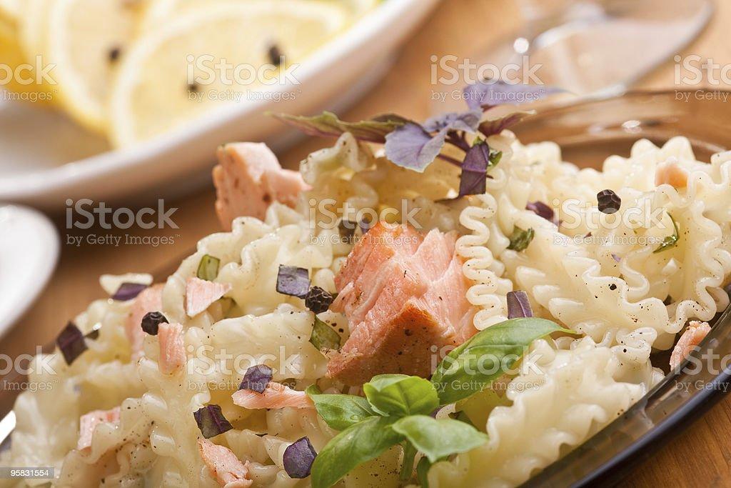 pasta mafalde with salmon royalty-free stock photo
