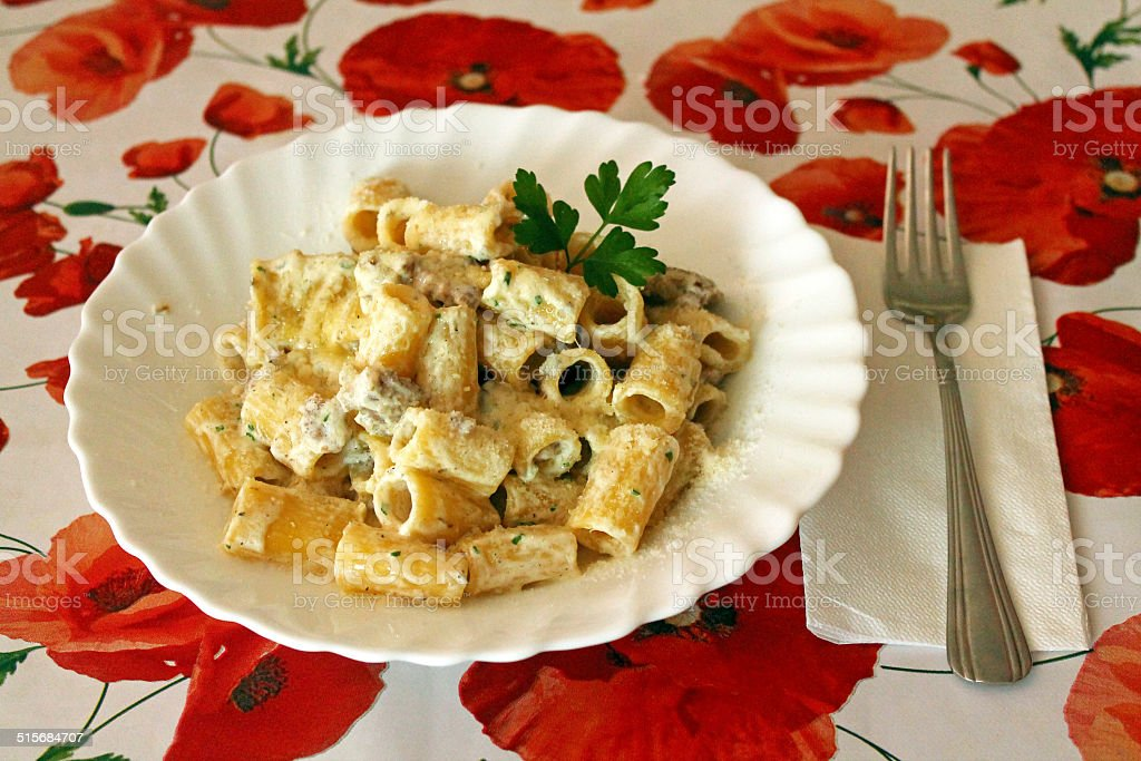 Pasta Norcina stock photo