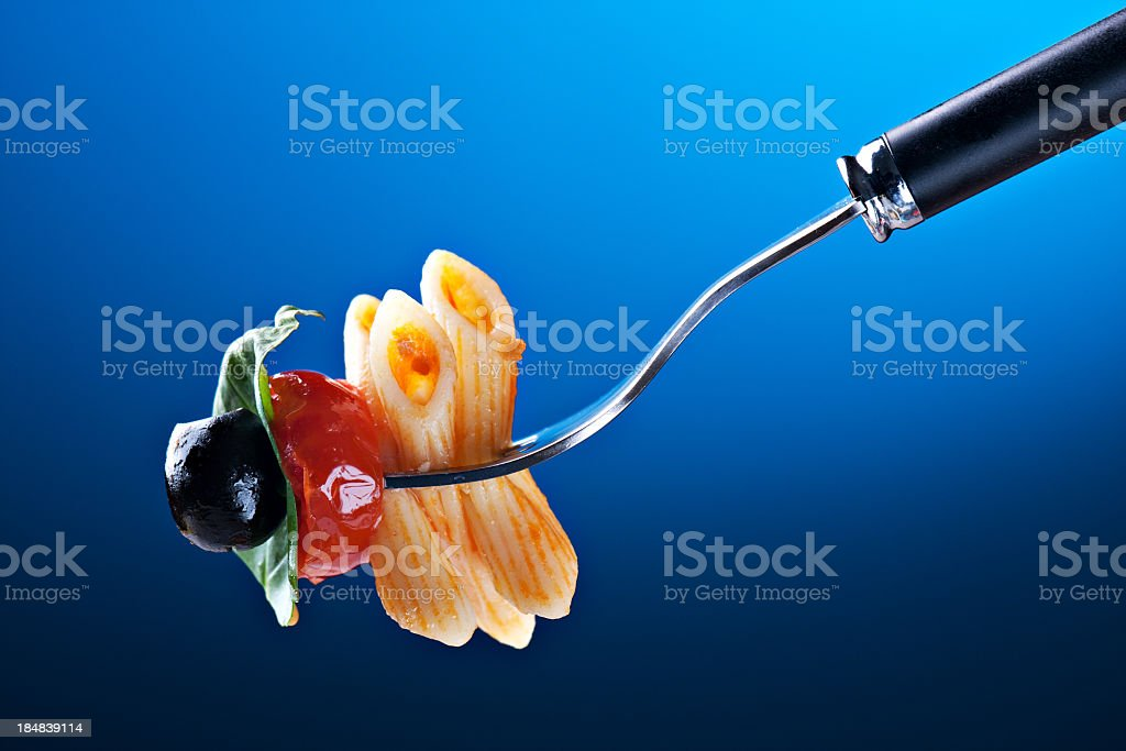 Pasta on a fork royalty-free stock photo