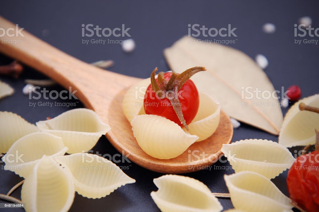 Pasta on blue background stock photo