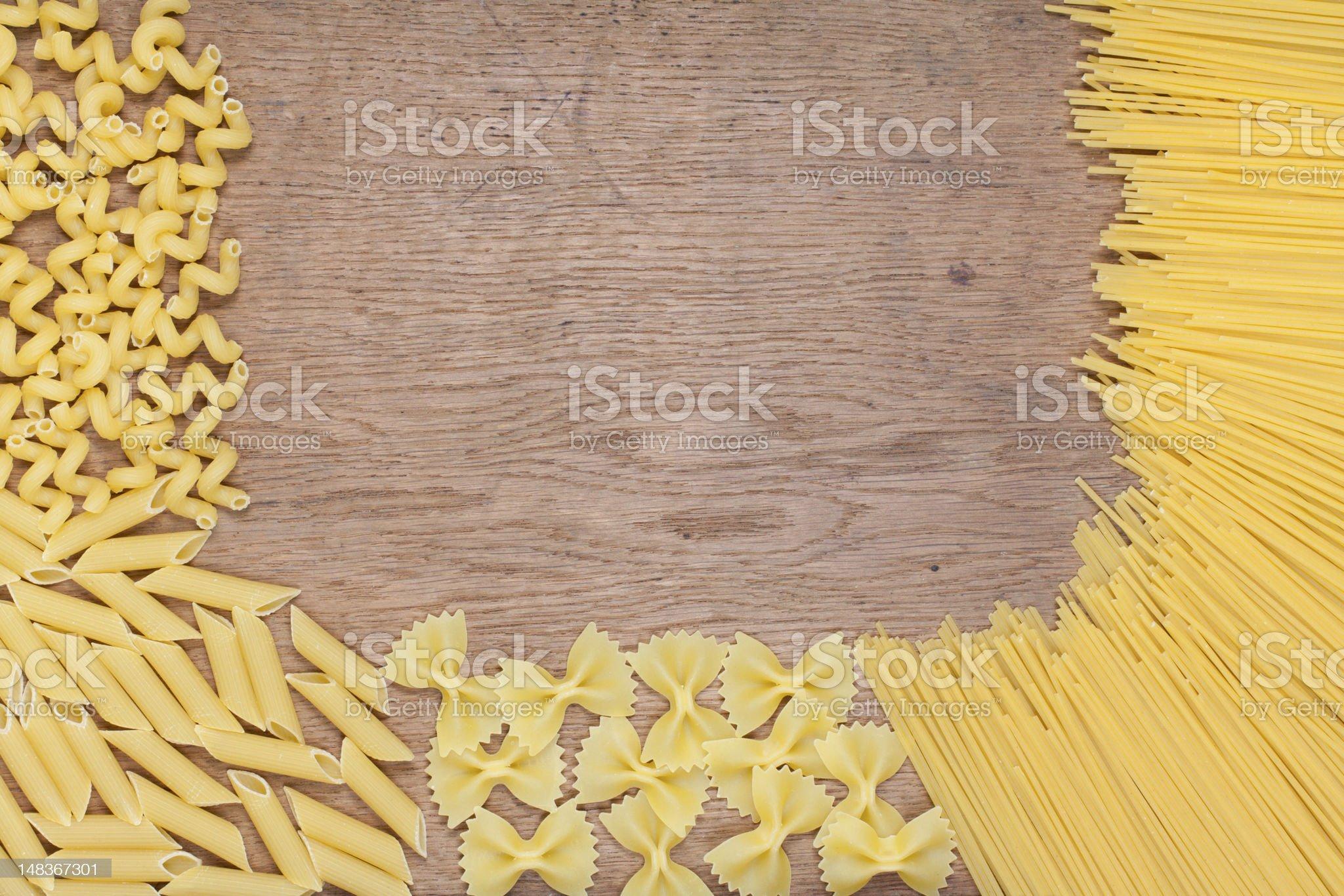 Pasta on wood royalty-free stock photo