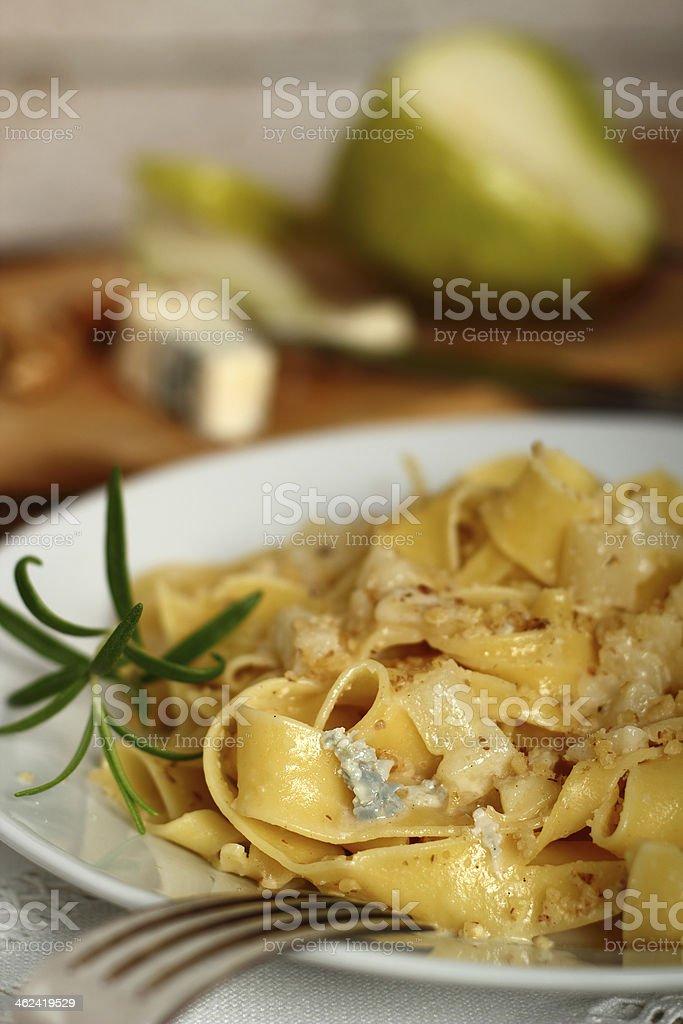 Pasta (Fettuccine) Pappardelle al Gorgonzola royalty-free stock photo