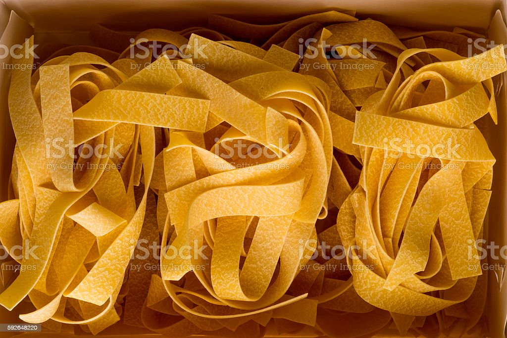 Pasta Parpardelle close up stock photo