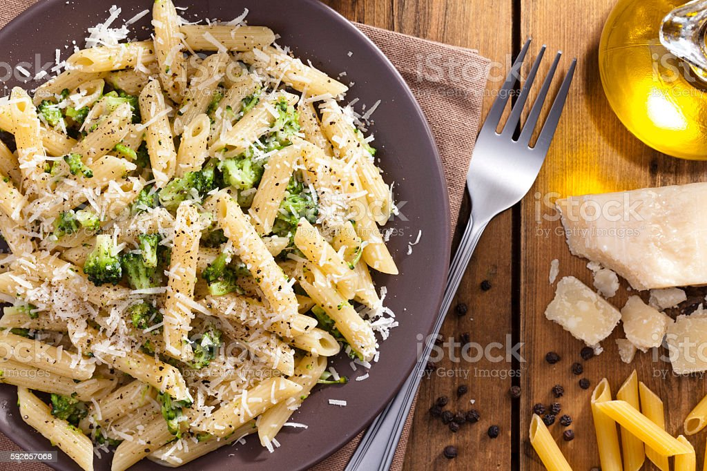 Pasta: penne with broccoli stock photo