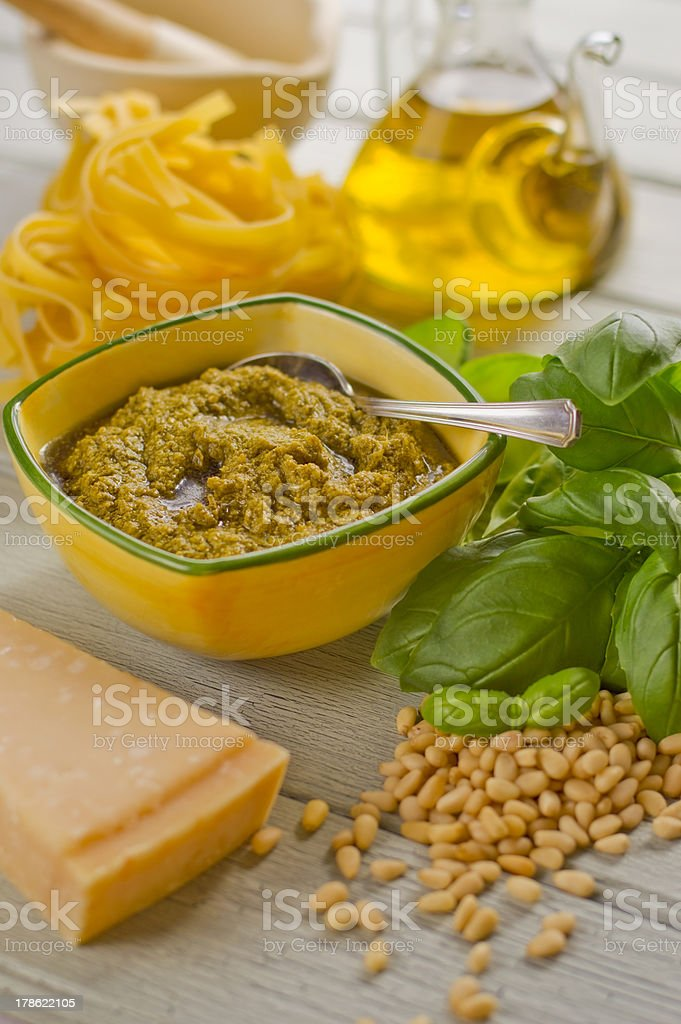 Pasta pesto royalty-free stock photo