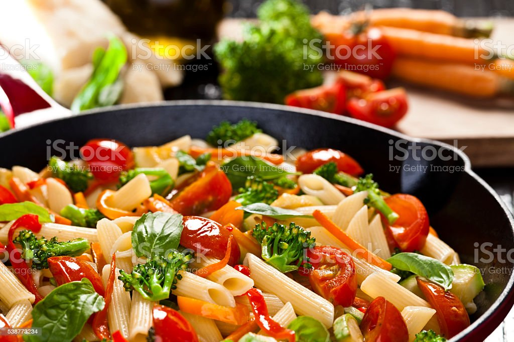 Pasta primavera stock photo