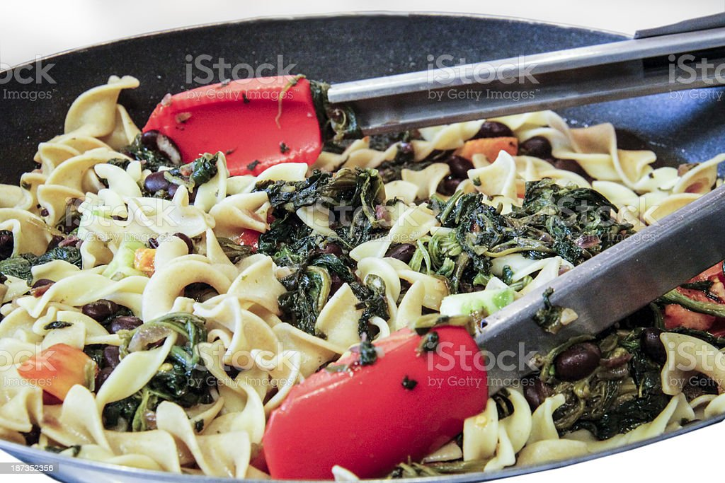 Pasta Primavera with Spinach, closeup royalty-free stock photo