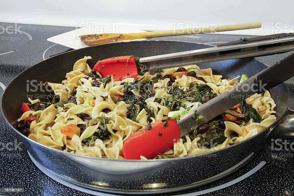 Pasta Primavera with Spinach royalty-free stock photo