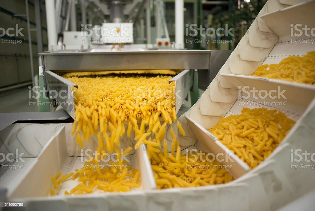 Pasta production line stock photo