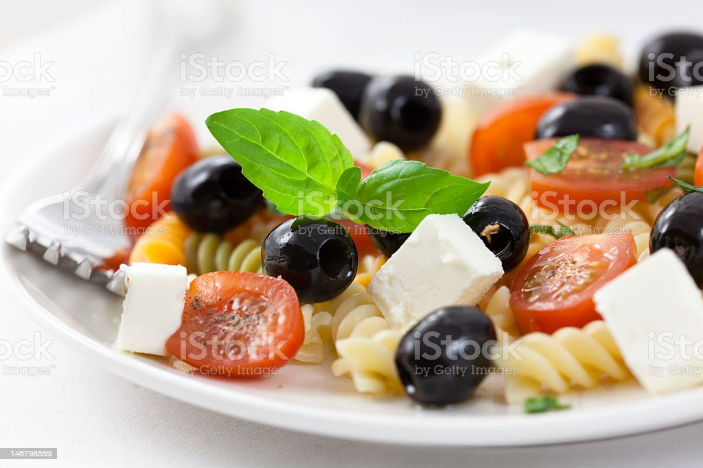 Pasta salad with goat cheese stock photo