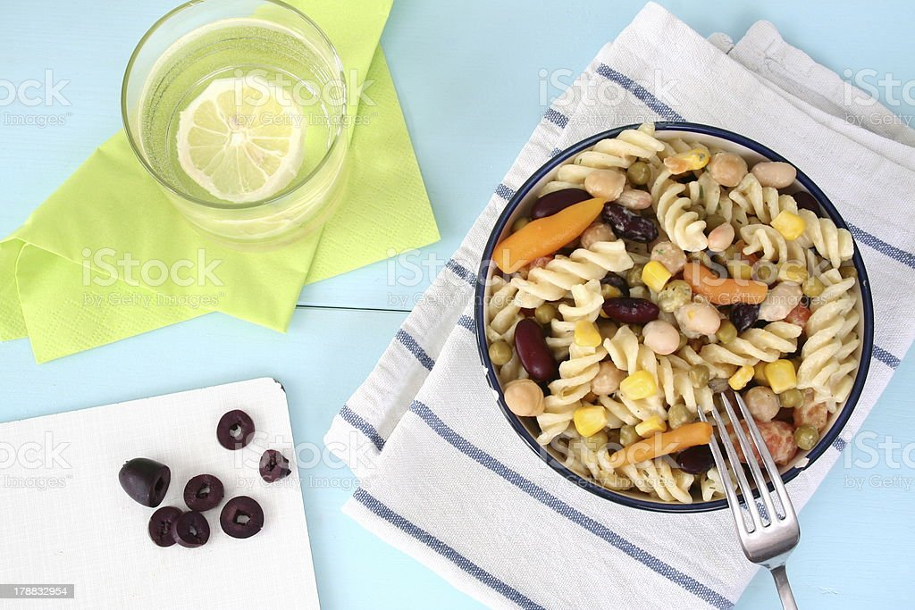 Pasta Salad with Legumes and Olives royalty-free stock photo