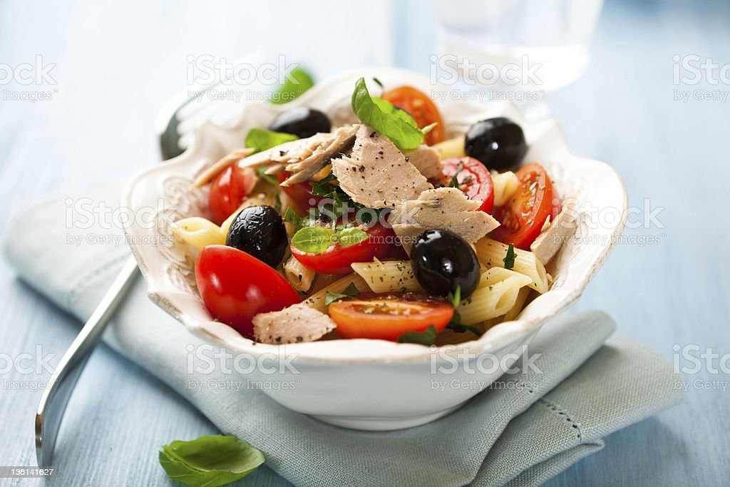 Pasta salad with tuna royalty-free stock photo