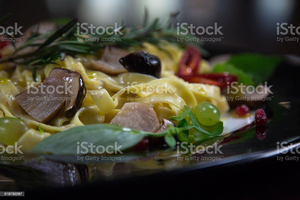 Pasta Tagliatelle Fungi stock photo