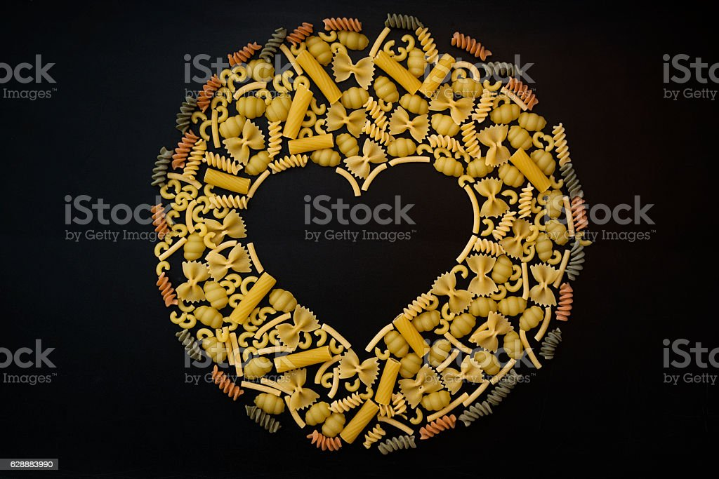 pasta text with different noodles stock photo