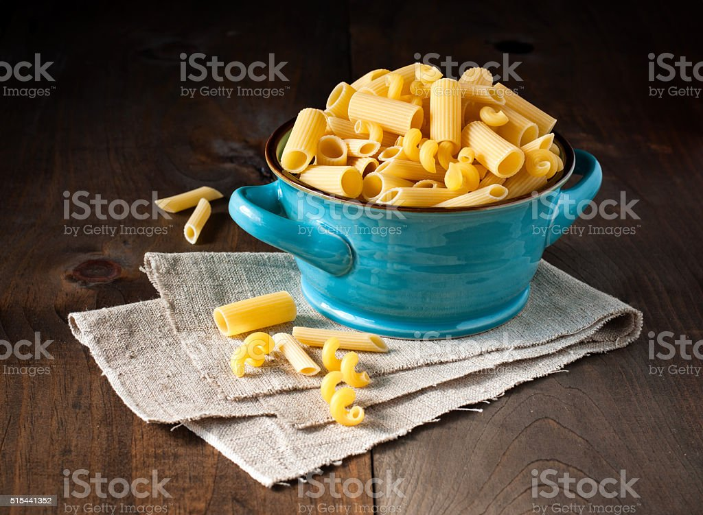 Pasta, variety of raw artisan made Italian pasta stock photo