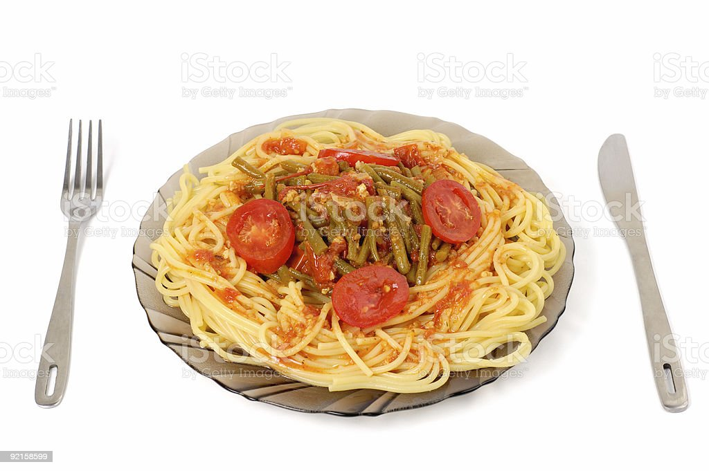 Pasta with asparagus sauce royalty-free stock photo