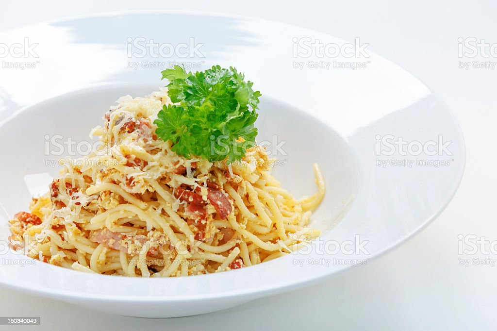 Pasta with bacon and cheese royalty-free stock photo