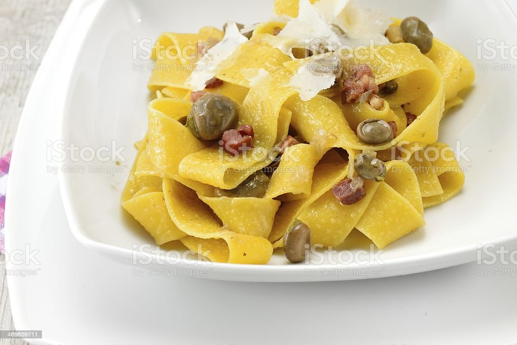 Pasta with bean and bacon stock photo