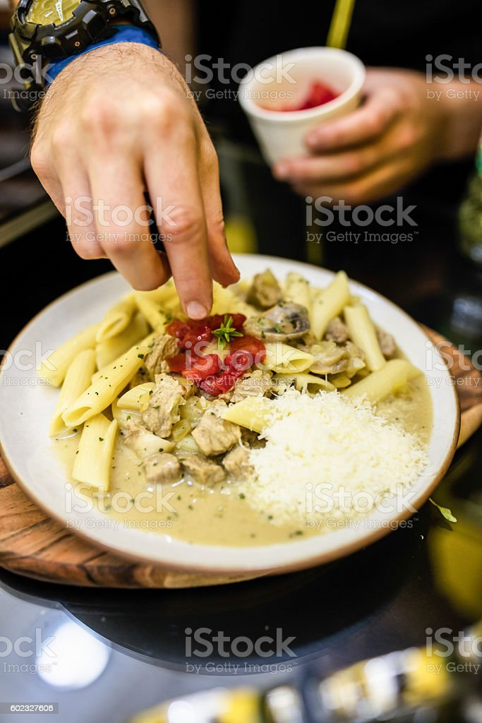Pasta with beef and tomato stock photo