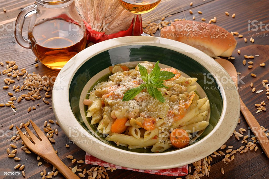 Pasta with cereals stock photo