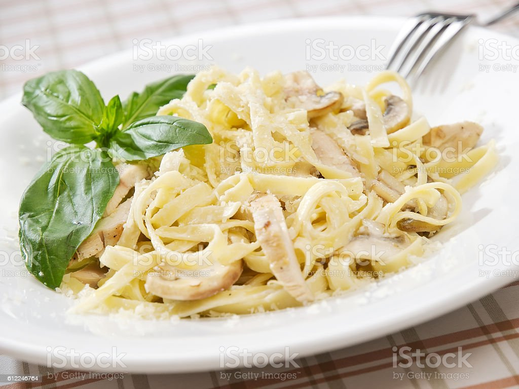Pasta with chicken stock photo