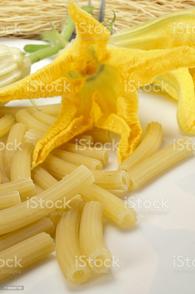 Pasta with Courgette flowers stock photo