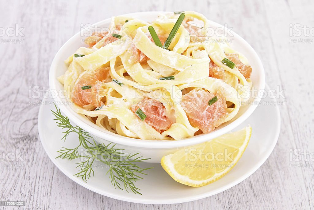pasta with cream and salmon stock photo