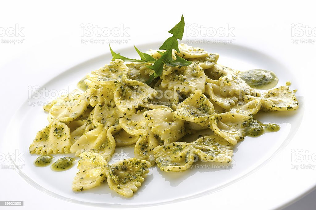 Pasta with dandelion sauce royalty-free stock photo