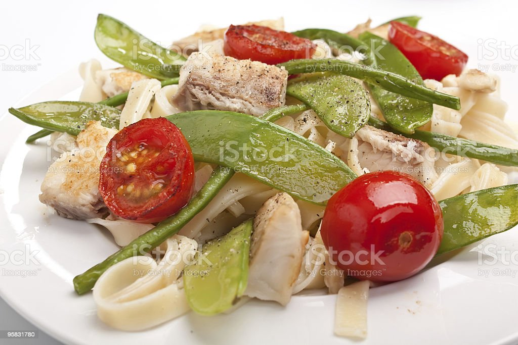 pasta with fish and vegetables royalty-free stock photo