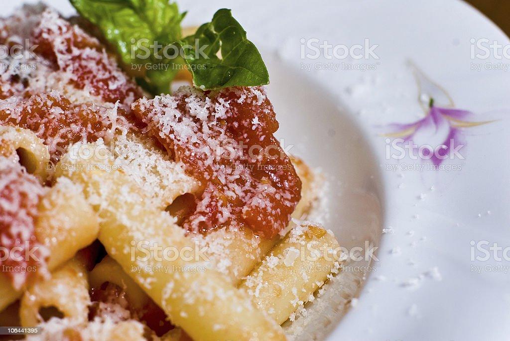 Pasta with fresh tomato sauce stock photo
