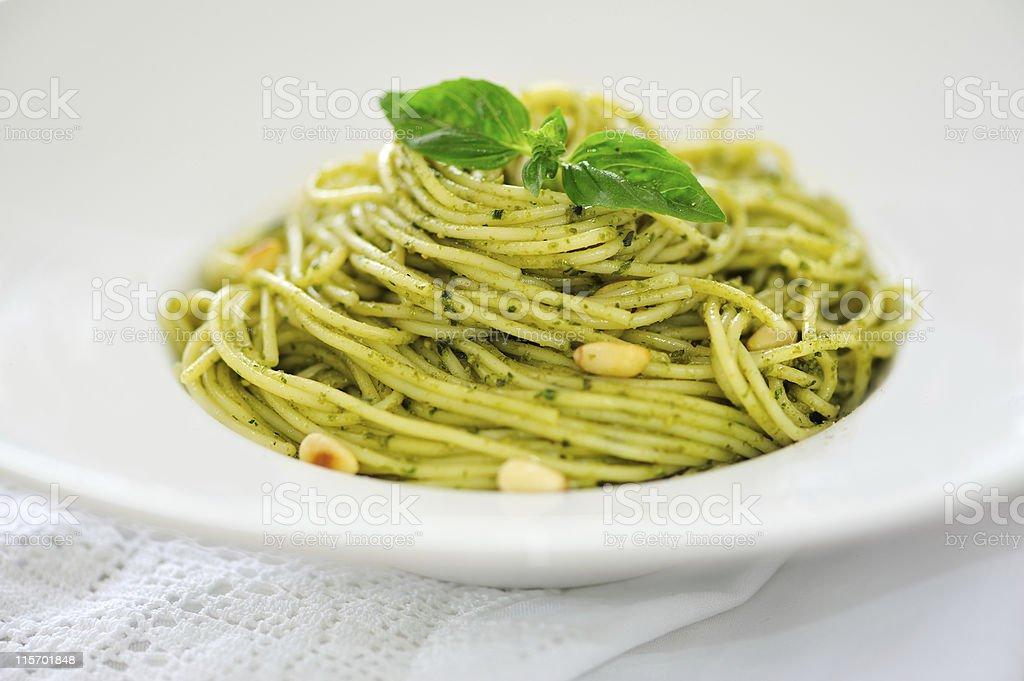 Pasta al Pesto alla Genovese stock photo