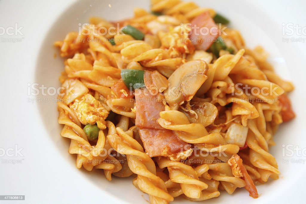pasta with ham and tomato royalty-free stock photo