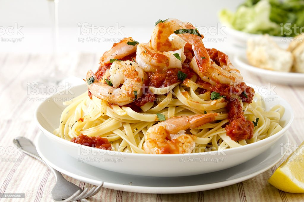 Pasta with king prawns stock photo