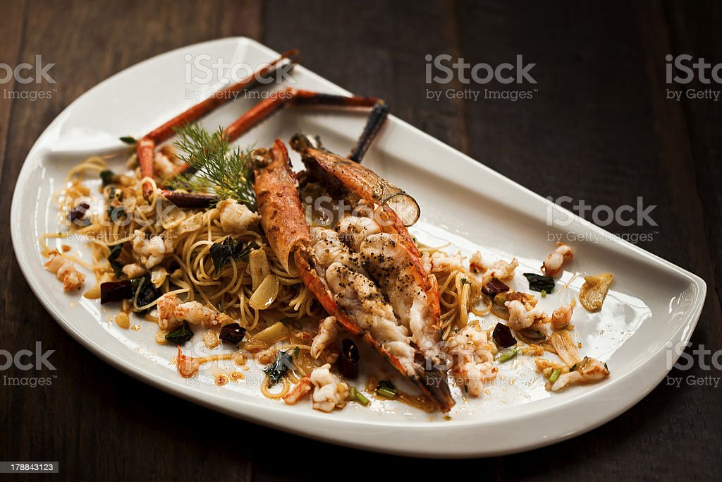 Pasta with Lobster and  Garlic Sauce royalty-free stock photo