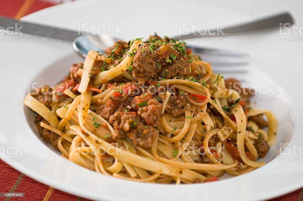 Pasta with meat sauce royalty-free stock photo