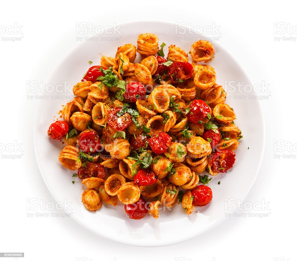 Pasta with meat, tomato sauce and parmesan royalty-free stock photo