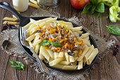Pasta with minced meat in a frying pan