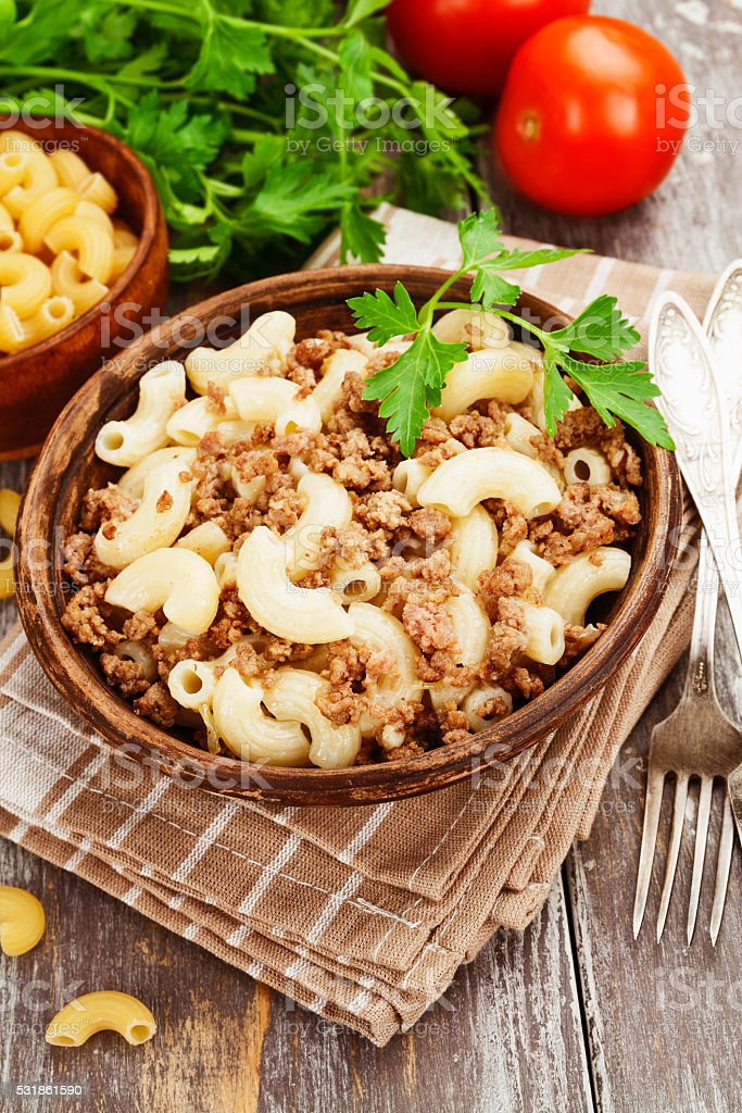 Pasta with minced meat stock photo