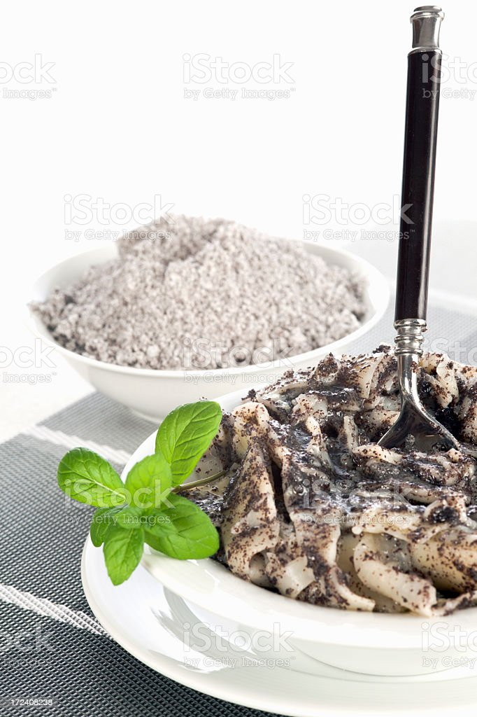 Pasta with minced poppy seed stock photo