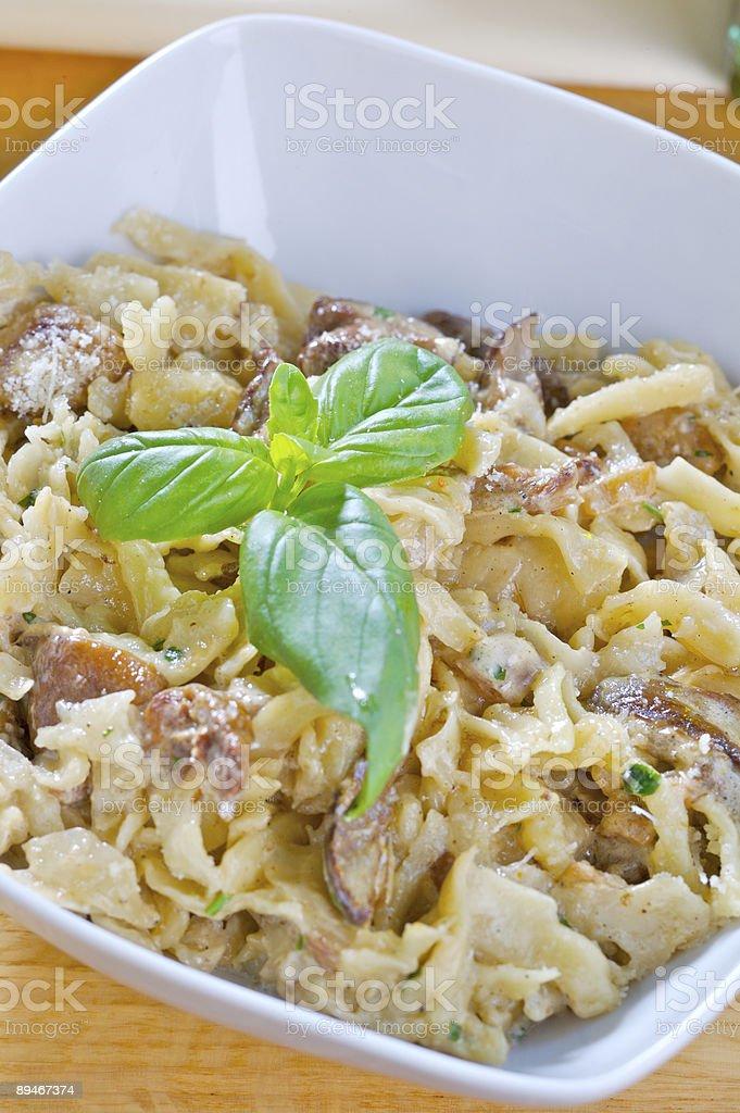 Pasta with mushrooms royalty-free stock photo