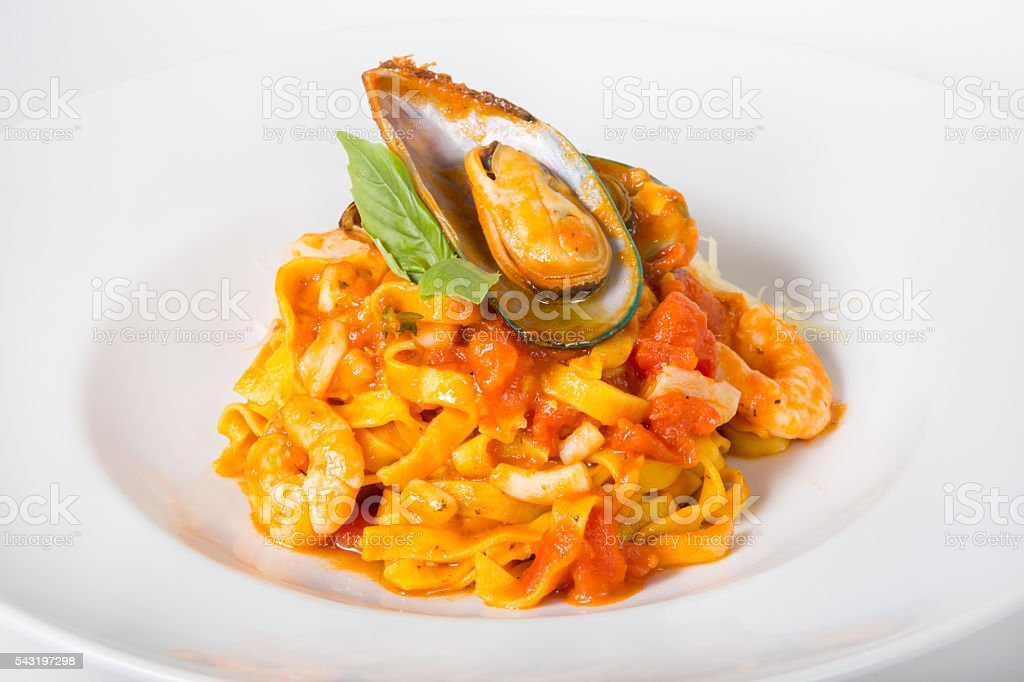 Pasta with mussel stock photo