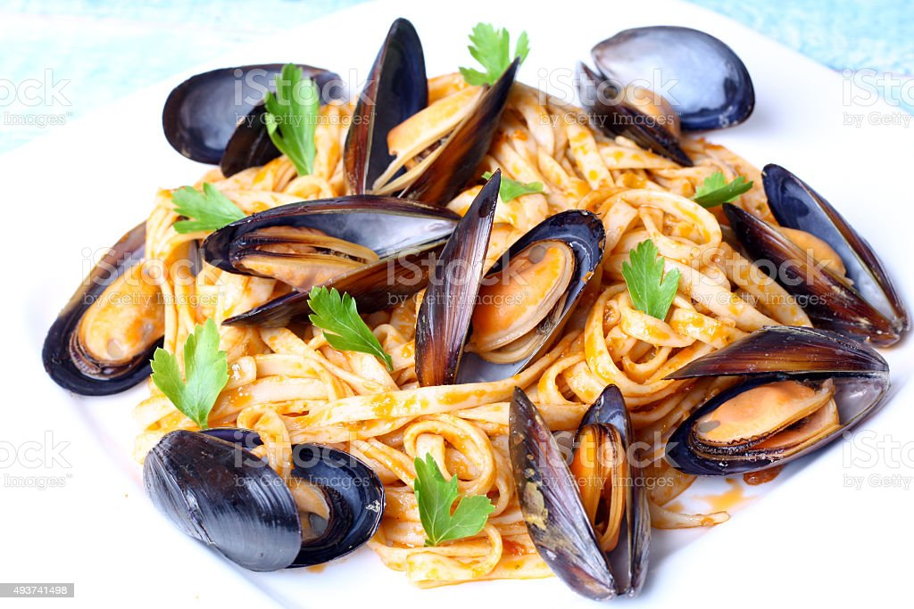 pasta with mussels seafood stock photo