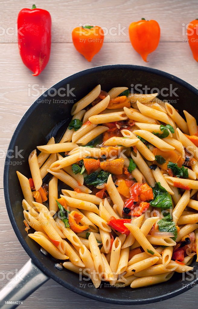 Pasta with Peppers stock photo