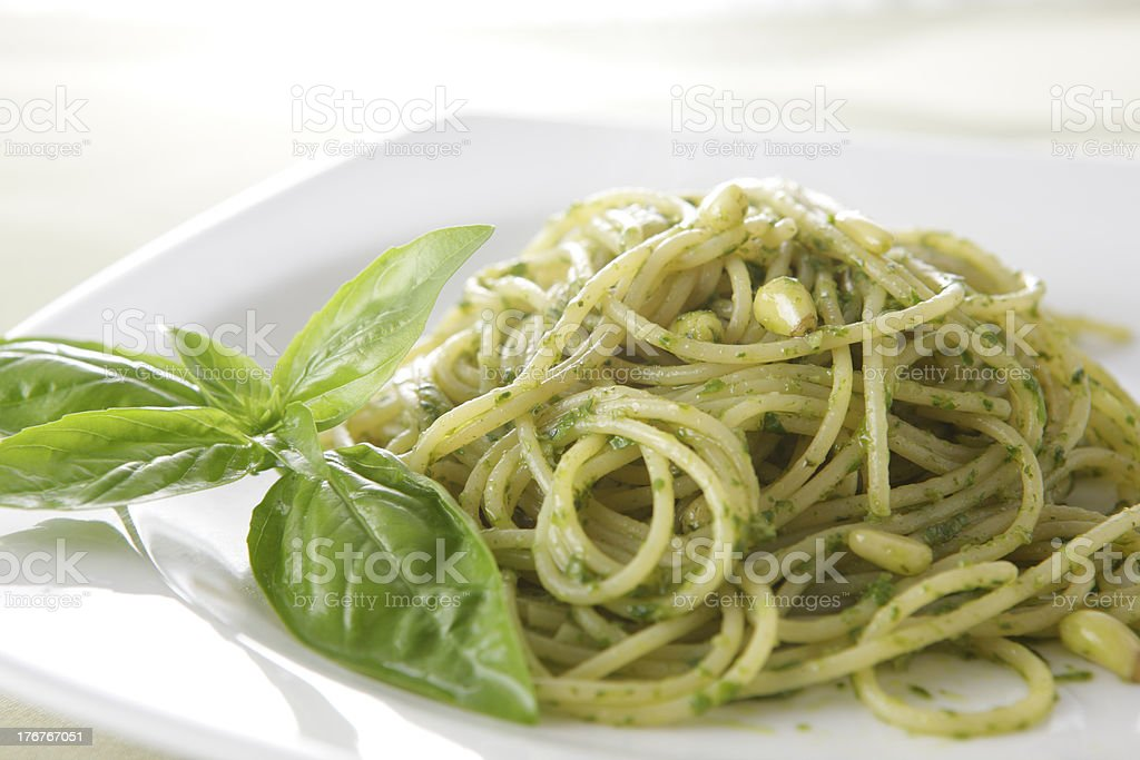 Pasta with Pesto Genovese royalty-free stock photo