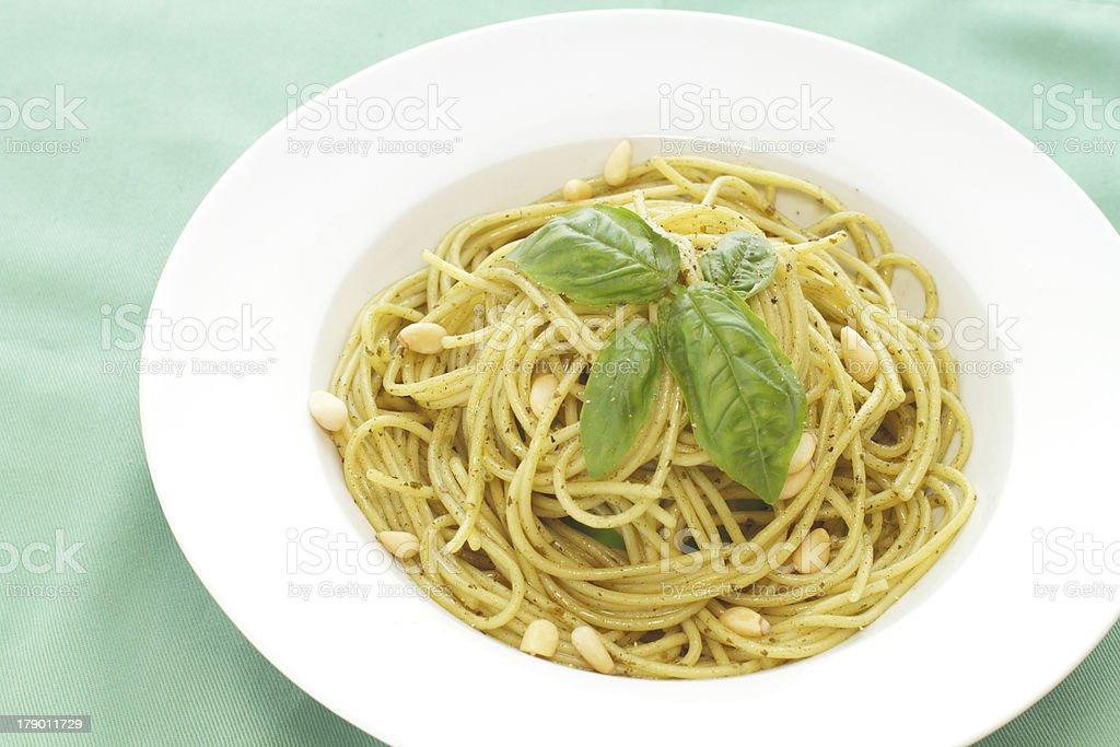 Pasta with Pesto Genovese stock photo