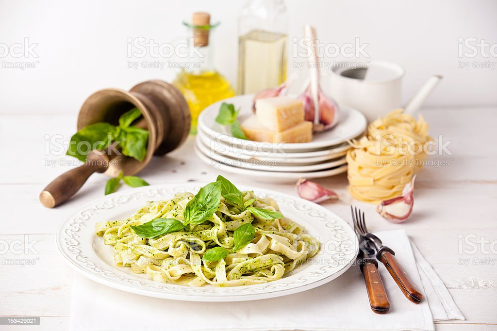 Pasta with pesto stock photo