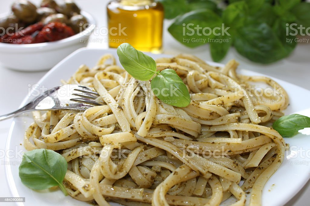 Pasta with pesto stock photo