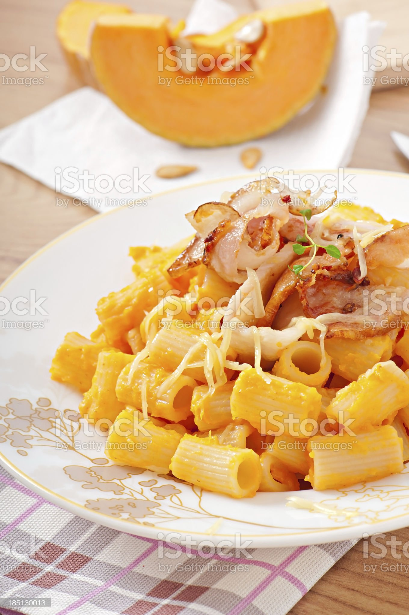 Pasta  with pumpkin royalty-free stock photo