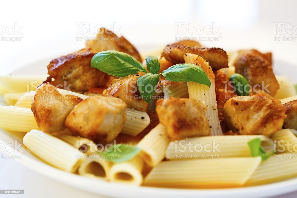 Pasta with roasted meat and vegetables royalty-free stock photo