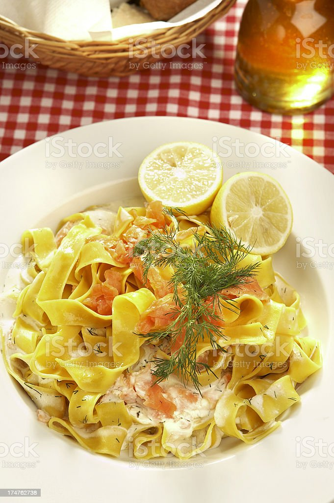 Pasta with salmon royalty-free stock photo